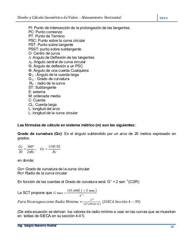 DiseñoyCálculoGeométricodeViales-AlineamientoHorizontal  Ing. Sergio Navarro Hudiel 18 PI: Punto de Intersecc...