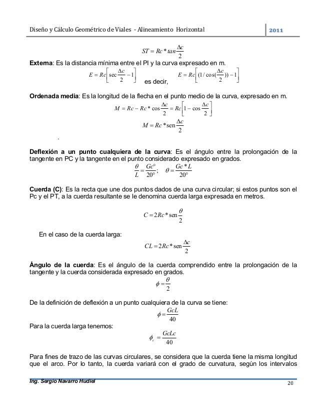 DiseñoyCálculoGeométricodeViales-AlineamientoHorizontal  Ing. Sergio Navarro Hudiel 20 2 * c tanRcST   Exte...
