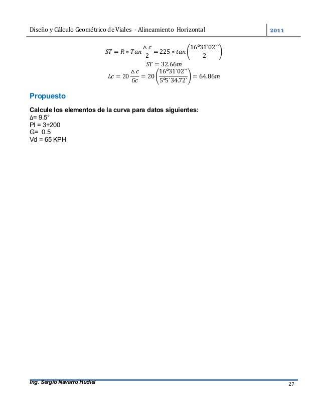 DiseñoyCálculoGeométricodeViales-AlineamientoHorizontal  Ing. Sergio Navarro Hudiel 27 = ∗ △ 2 = 225 ∗ 16º31`...