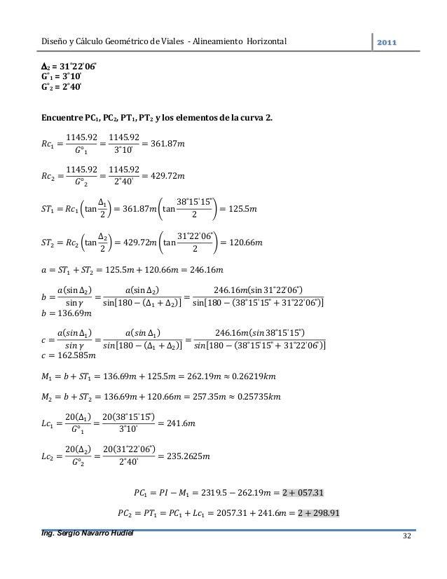 DiseñoyCálculoGeométricodeViales-AlineamientoHorizontal  Ing. Sergio Navarro Hudiel 32 2=31˚22̍06̎ G˚1...