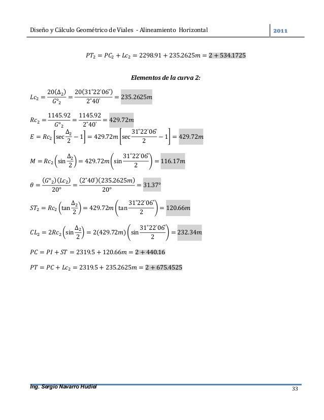 DiseñoyCálculoGeométricodeViales-AlineamientoHorizontal  Ing. Sergio Navarro Hudiel 33 = + = 2298.91 + 235.26...