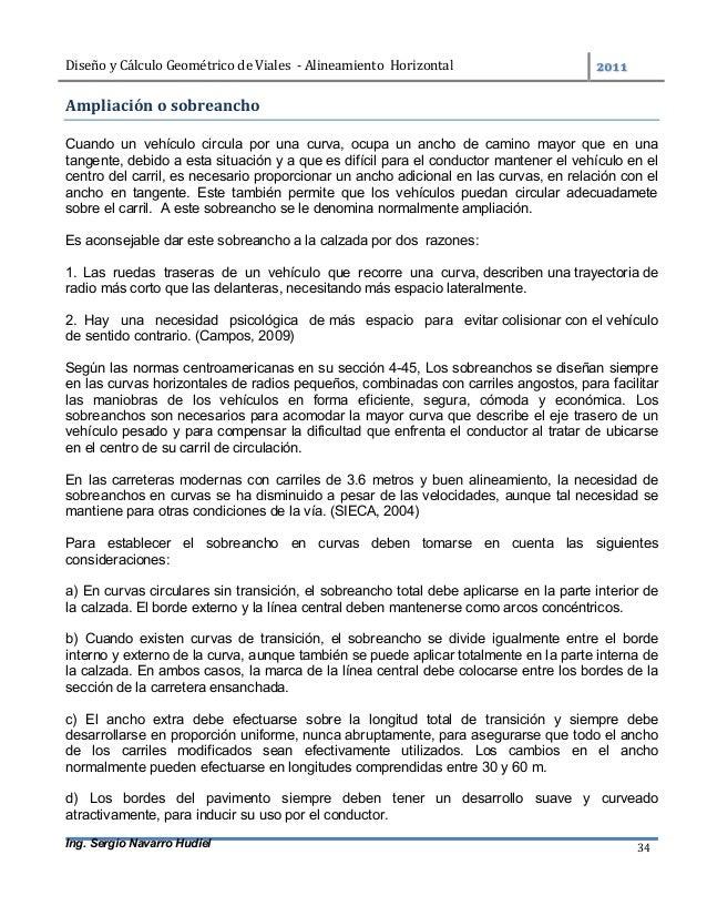 DiseñoyCálculoGeométricodeViales-AlineamientoHorizontal  Ing. Sergio Navarro Hudiel 34 Ampliaciónosobreanch...
