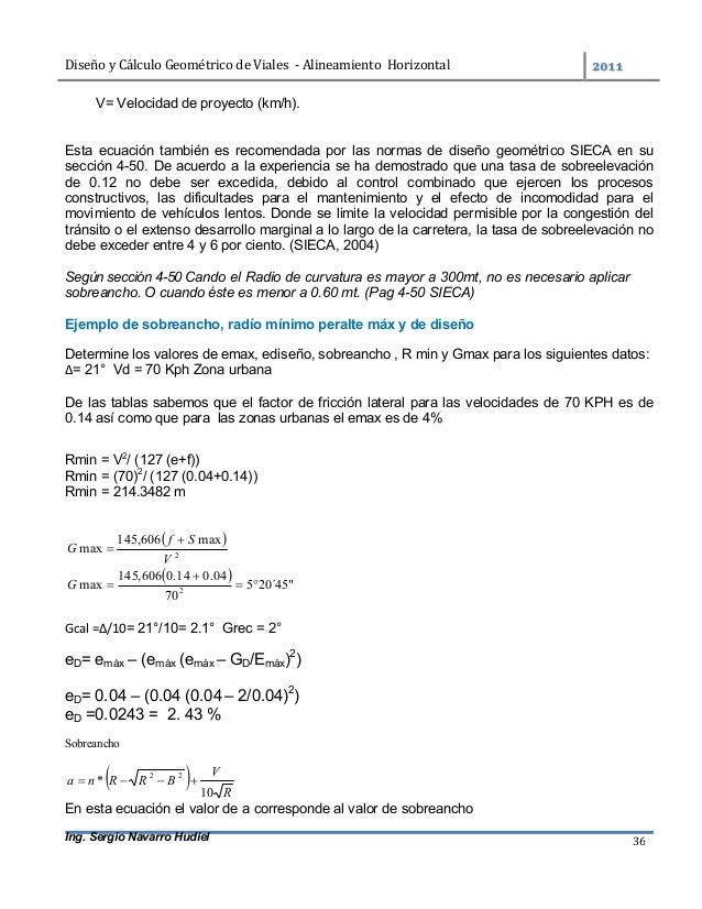 DiseñoyCálculoGeométricodeViales-AlineamientoHorizontal  Ing. Sergio Navarro Hudiel 36 V= Velocidad de proyec...