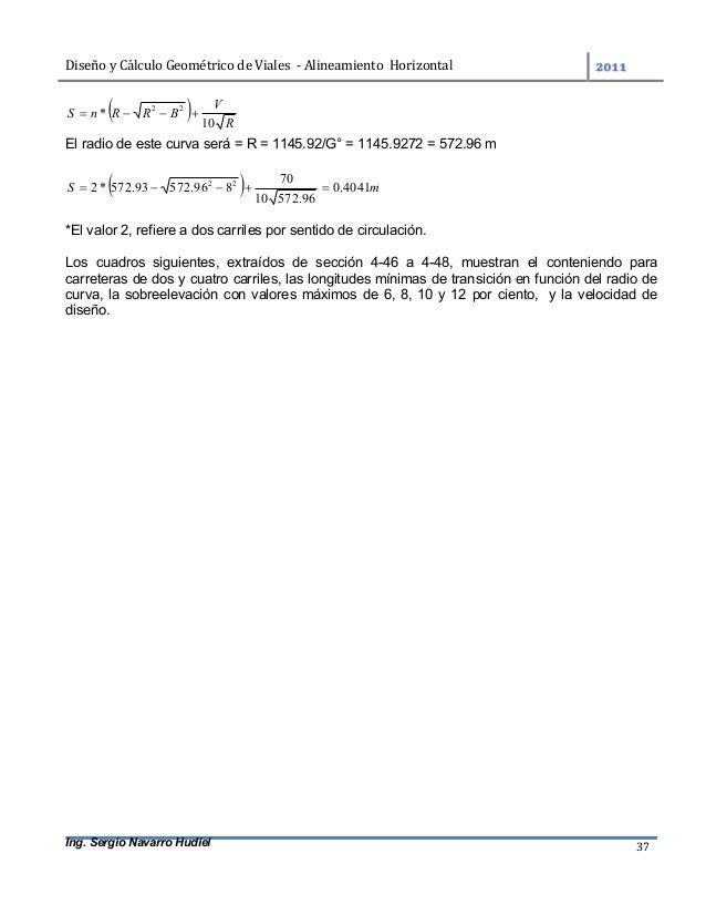DiseñoyCálculoGeométricodeViales-AlineamientoHorizontal  Ing. Sergio Navarro Hudiel 37   R V BRRnS 10 * 22 ...