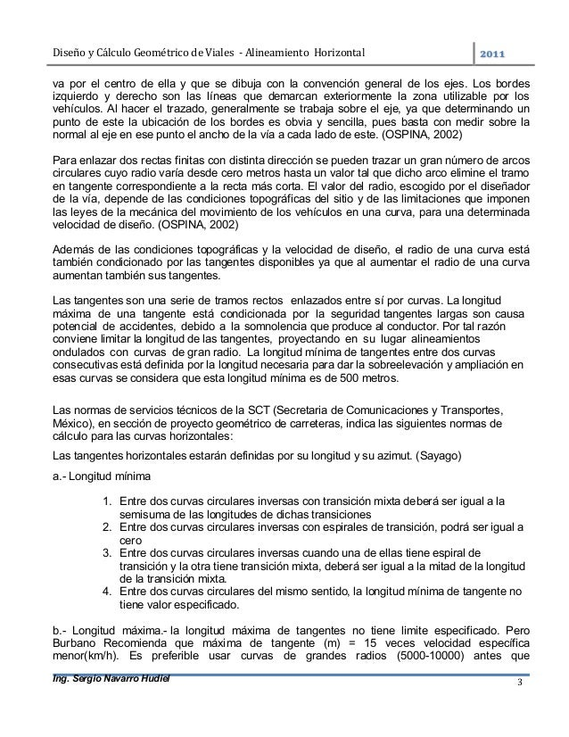 DiseñoyCálculoGeométricodeViales-AlineamientoHorizontal  Ing. Sergio Navarro Hudiel 3 va por el centro de ell...