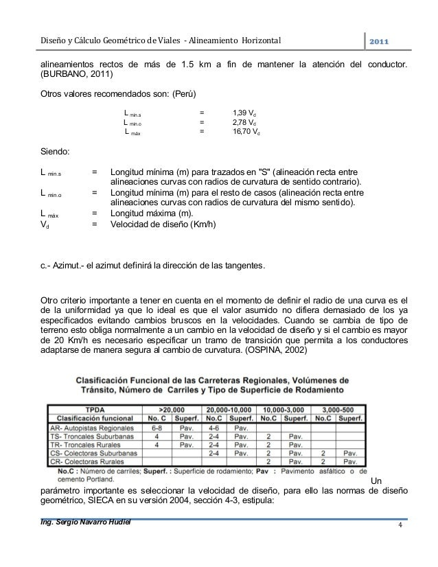 DiseñoyCálculoGeométricodeViales-AlineamientoHorizontal  Ing. Sergio Navarro Hudiel 4 alineamientos rectos de...