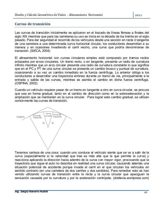 DiseñoyCálculoGeométricodeViales-AlineamientoHorizontal  Ing. Sergio Navarro Hudiel 49 Curvasdetransición ...