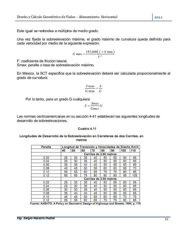 DiseñoyCálculoGeométricodeViales-AlineamientoHorizontal  Ing. Sergio Navarro Hudiel 55 Este igual se redondea...