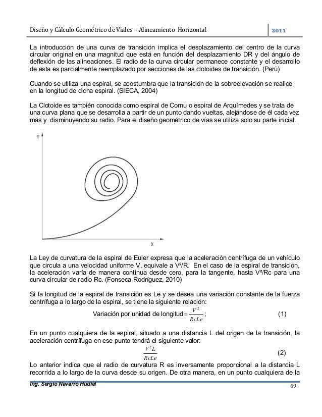 DiseñoyCálculoGeométricodeViales-AlineamientoHorizontal  Ing. Sergio Navarro Hudiel 69 La introducción de una...