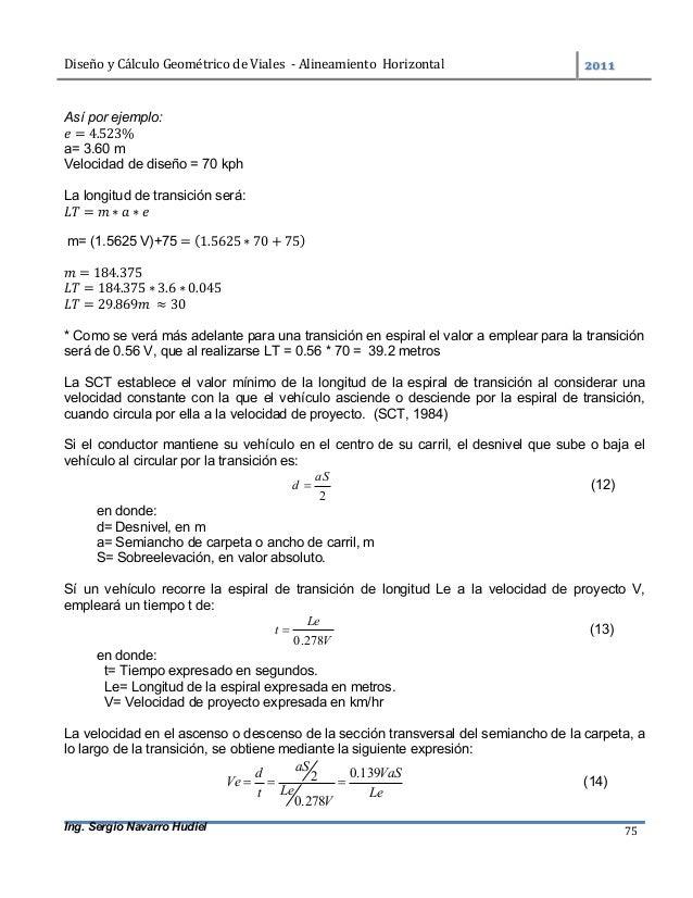 DiseñoyCálculoGeométricodeViales-AlineamientoHorizontal  Ing. Sergio Navarro Hudiel 75 Así por ejemplo: = 4.5...