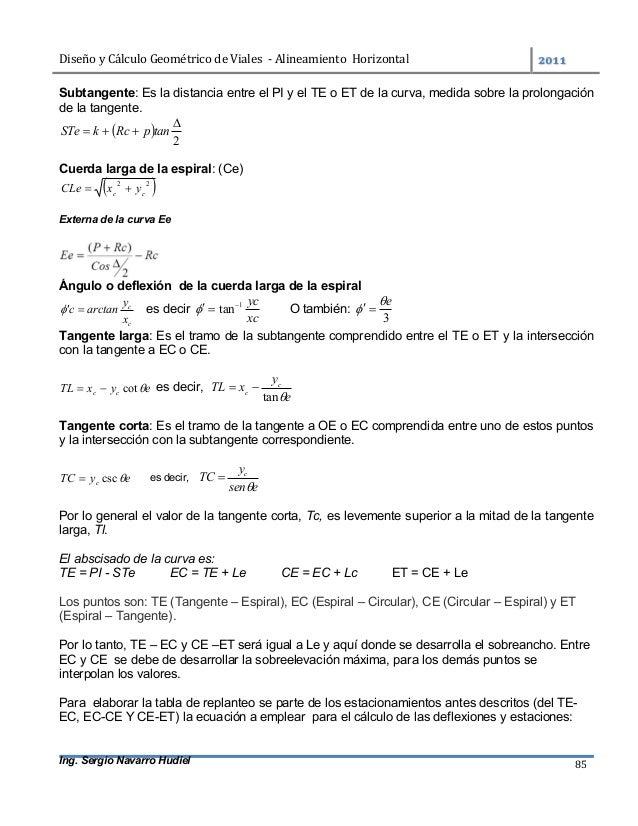 DiseñoyCálculoGeométricodeViales-AlineamientoHorizontal  Ing. Sergio Navarro Hudiel 85 Subtangente: Es la dis...