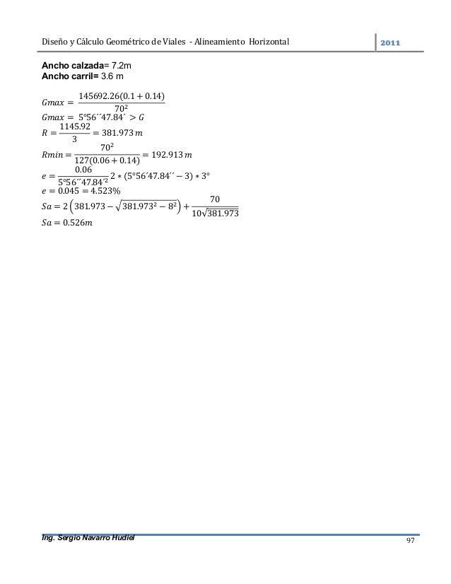 DiseñoyCálculoGeométricodeViales-AlineamientoHorizontal  Ing. Sergio Navarro Hudiel 97 Ancho calzada= 7.2m An...