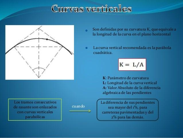 Los tramos consecutivos de rasante son enlazados con curvas verticales parabólicas cuando La diferencia de sus pendientes ...