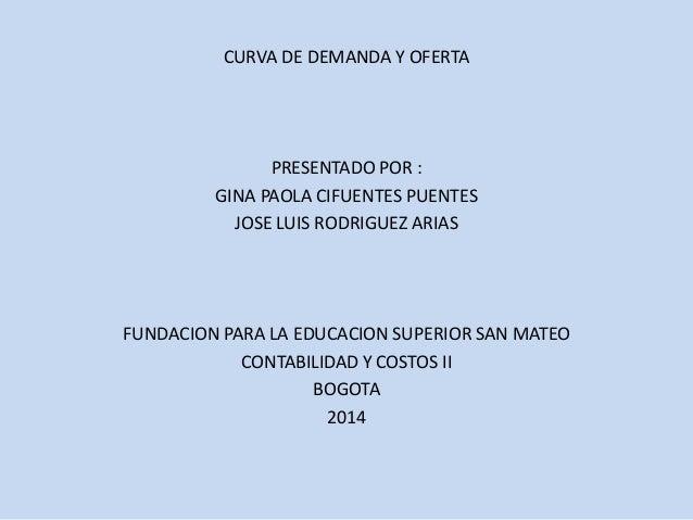 CURVA DE DEMANDA Y OFERTA  PRESENTADO POR :  GINA PAOLA CIFUENTES PUENTES  JOSE LUIS RODRIGUEZ ARIAS  FUNDACION PARA LA ED...