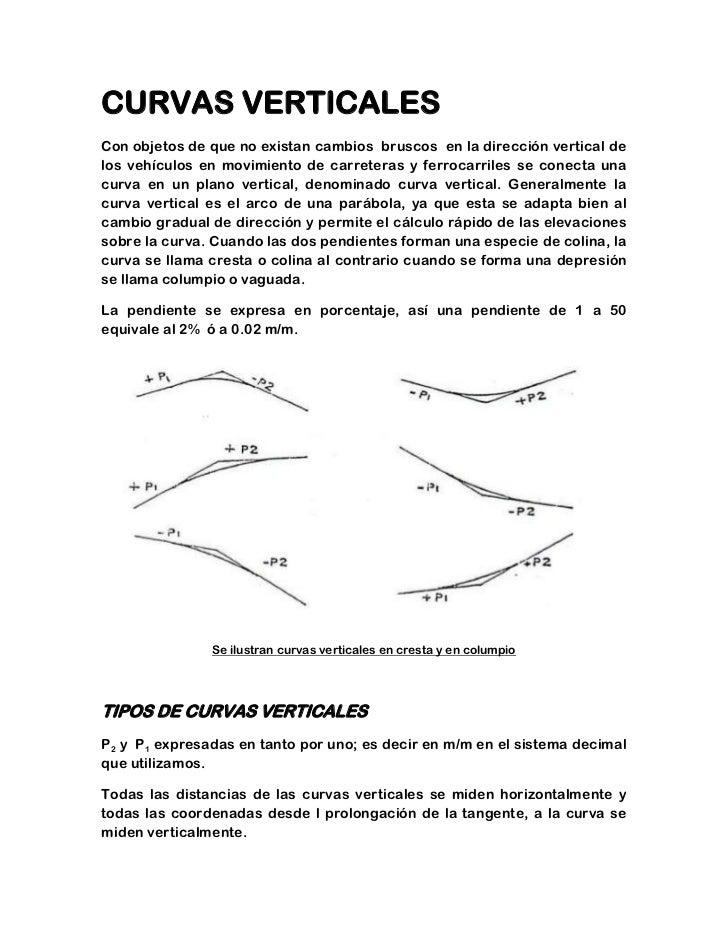 CURVAS VERTICALESCon objetos de que no existan cambios bruscos en la dirección vertical delos vehículos en movimiento de c...