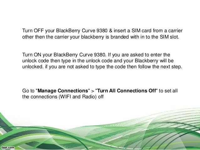 How to Unlock Blackberry Curve 9380 with unlock code