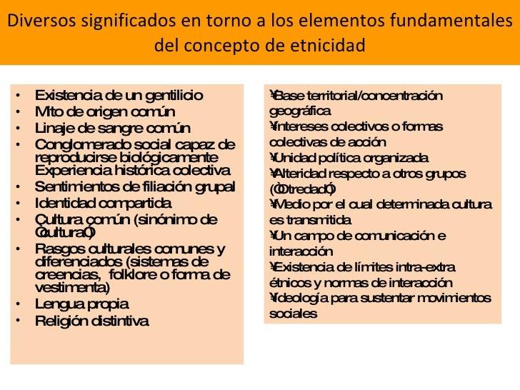 Diversos significados en torno a los elementos fundamentales del concepto de etnicidad <ul><li>Existencia de un gentilicio...
