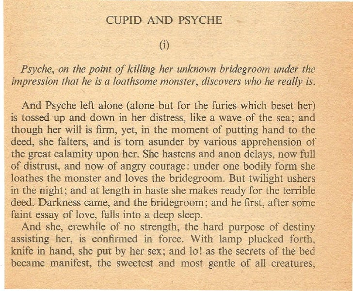 Psyche, on the point of killing her unknown bridegroom under the impression that he is a loathsome monster, discovers who ...