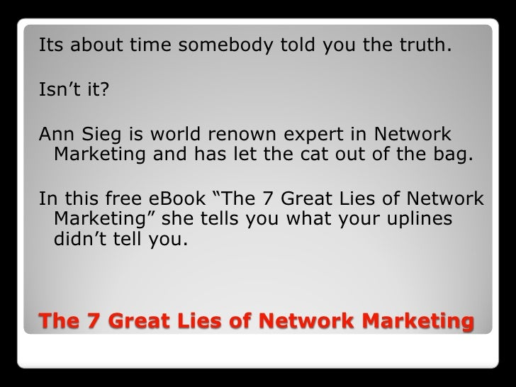 OPEN YOUR EYES The 7 Great Lies Of Network Marketing 2