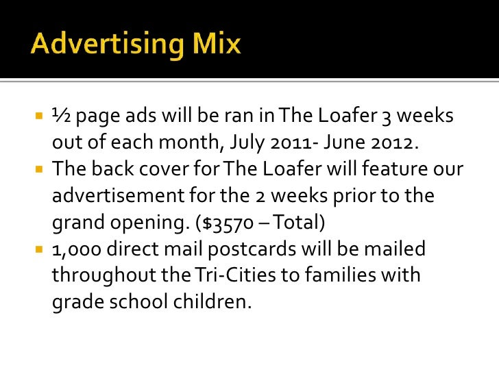 Advertising Mix<br />½ page ads will be ran in The Loafer 3 weeks out of each month, July 2011- June 2012.<br />The back c...