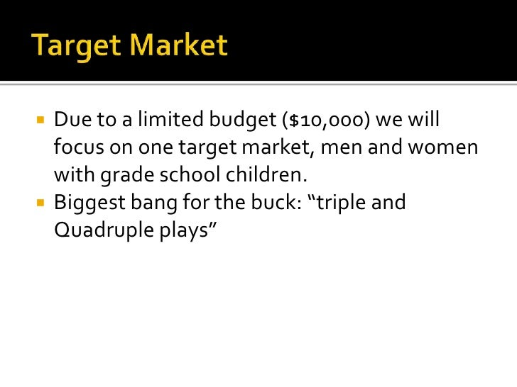 Target Market<br />Due to a limited budget ($10,000) we will focus on one target market, men and women with grade school c...