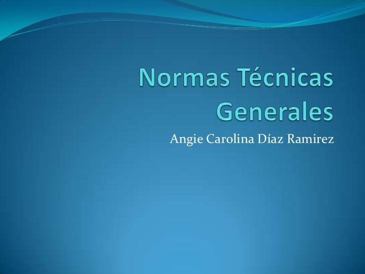 Normas Técnicas Generales<br />Angie Carolina Díaz Ramirez<br />