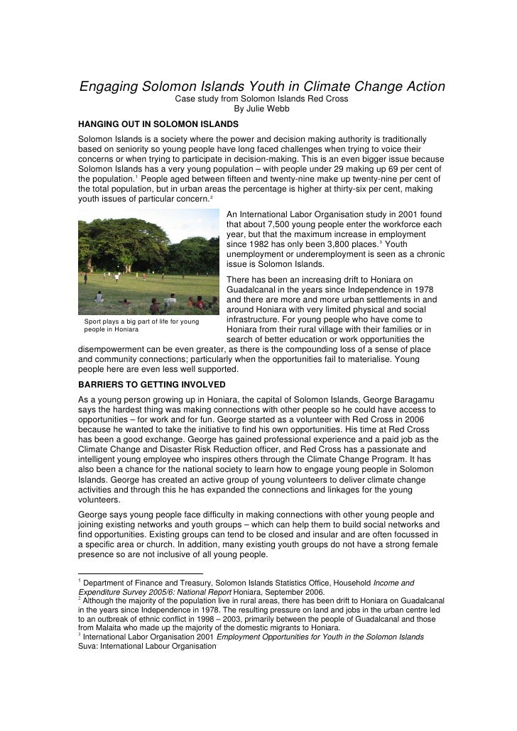 Engaging Solomon Islands Youth in Climate Change Action                             Case study from Solomon Islands Red Cr...