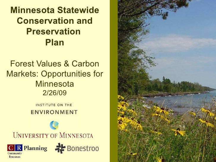 Minnesota Statewide Conservation and Preservation  Plan Forest Values & Carbon Markets: Opportunities for Minnesota 2/26/09