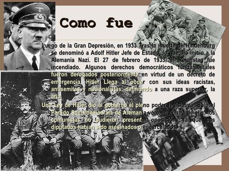 <ul><ul><ul><ul><ul><li>Luego de la Gran Depresión, en 1933  Tras la muerte de Hindenburg se denominó a Adolf Hitler Jefe ...