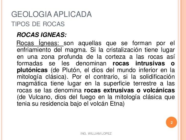 GEOLOGIA APLICADA-TIPOS DE ROCAS Slide 2