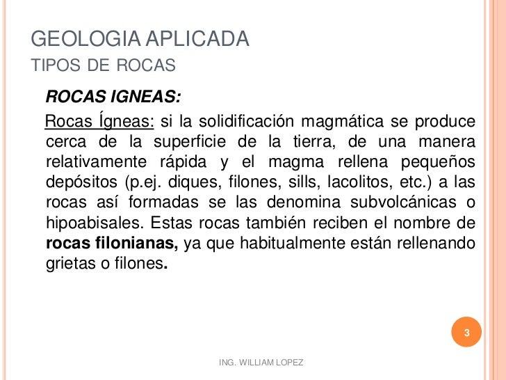 GEOLOGIA APLICADA-TIPOS DE ROCAS Slide 3