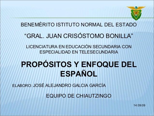 """BENEMÉRITO ISTITUTO NORMAL DEL ESTADO """"GRAL. JUAN CRISÓSTOMO BONILLA"""" LICENCIATURA EN EDUCACIÓN SECUNDARIA CON ESPECIALIDA..."""