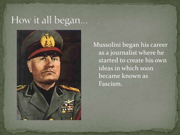 the life and political career of benito mussolini Early life and career benito mussolini was born at dovia di predappio, italy, on july 29, 1883  many of mussolini's political speeches and pamphlets have been translated into english  mussolini, benito benito mussolini ruled as dictator of italy from 1922 to 1943 his political philosophy, which he called fascism, was based on the.