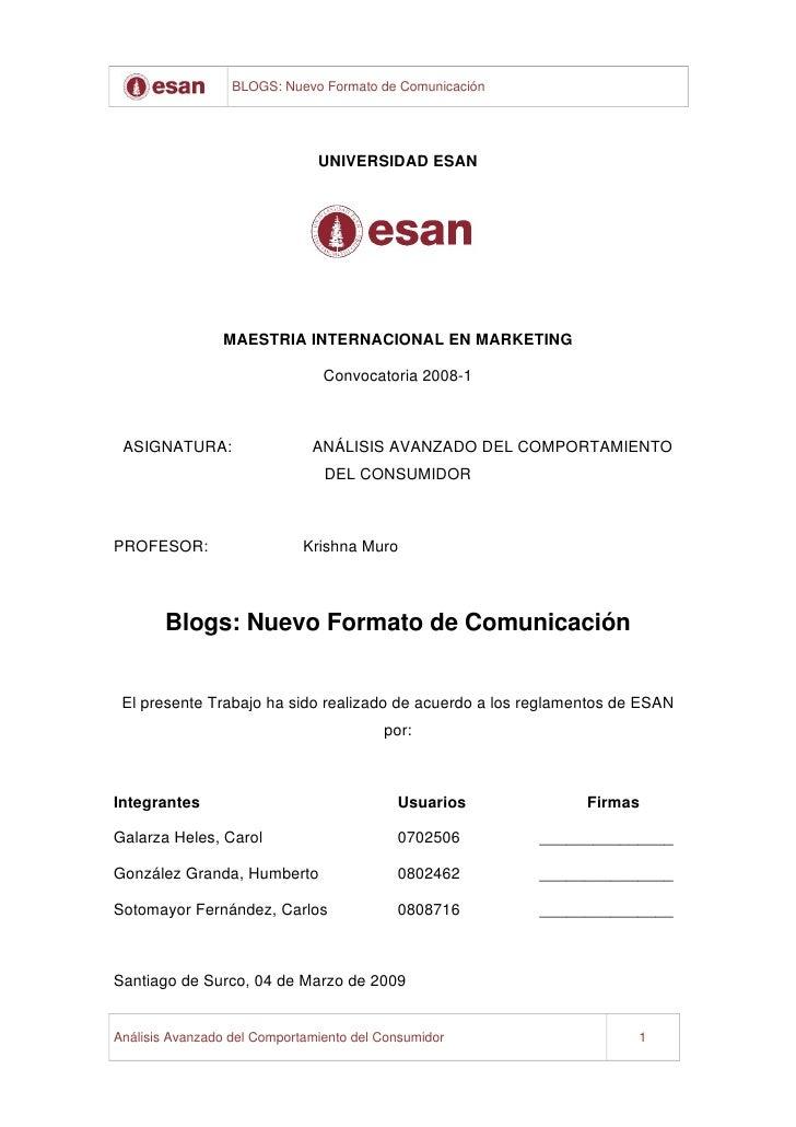 BLOGS: Nuevo Formato de Comunicación                                    UNIVERSIDAD ESAN                     MAESTRIA INTE...