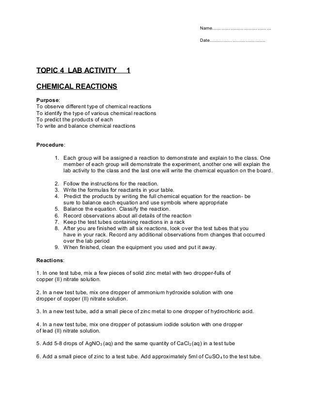 TOPIC 4  CHEMICAL REACTIONS -LAB