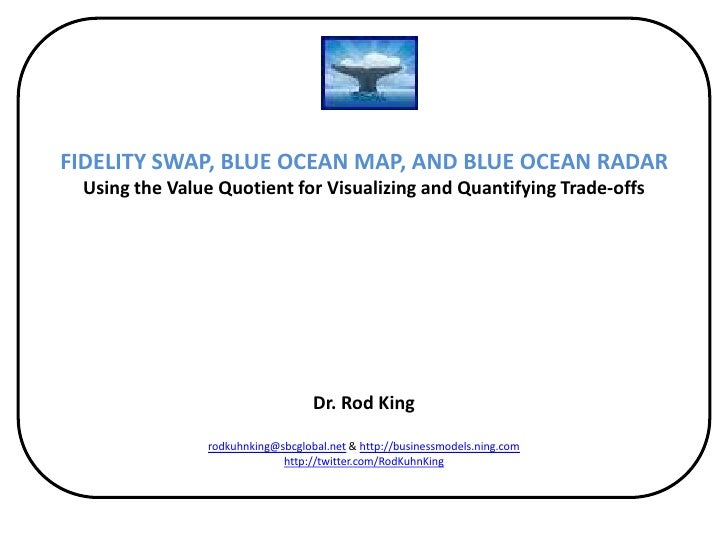 FIDELITY SWAP, BLUE OCEAN MAP, AND BLUE OCEAN RADARUsing the Value Quotient for Visualizing and Quantifying Trade-offsfor ...