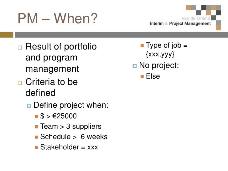 Project management at a glance