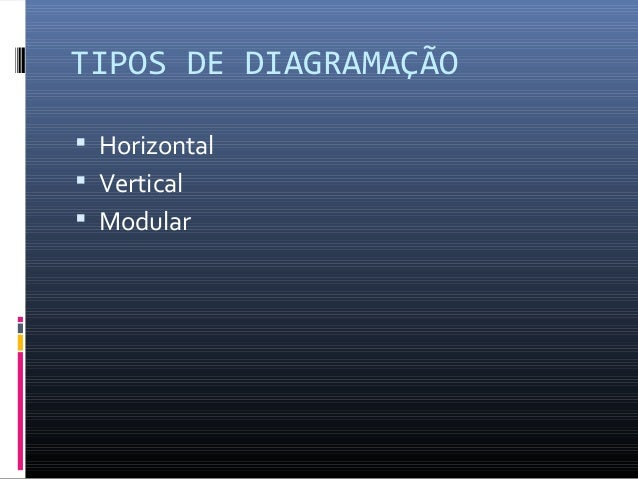 TIPOS DE DIAGRAMAÇÃO  Horizontal  Vertical  Modular