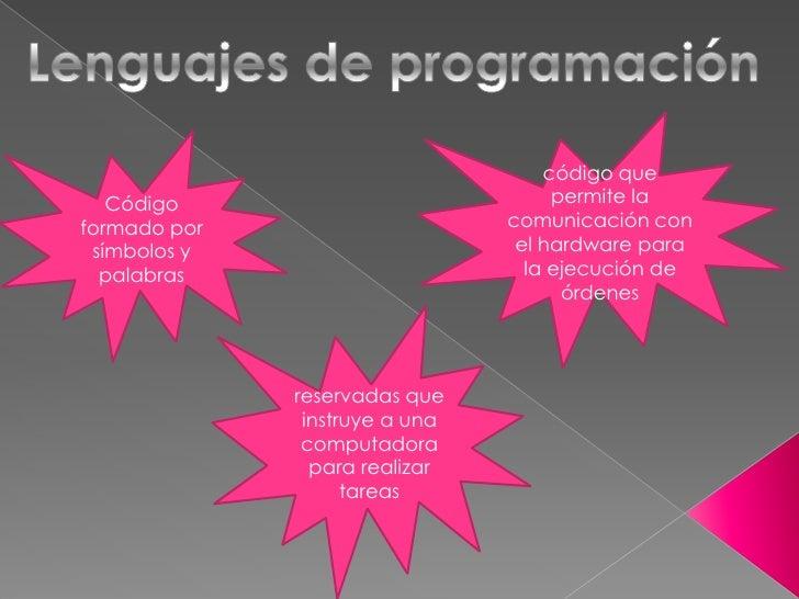 Lenguajes de programación<br />código que permite la comunicación con el hardware para la ejecución de órdenes<br />Código...