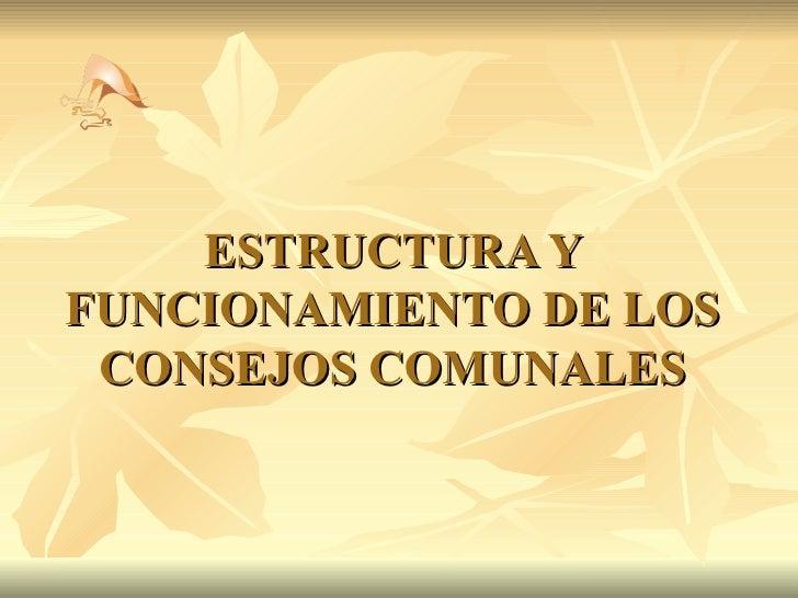 ESTRUCTURA Y FUNCIONAMIENTO DE LOS CONSEJOS COMUNALES