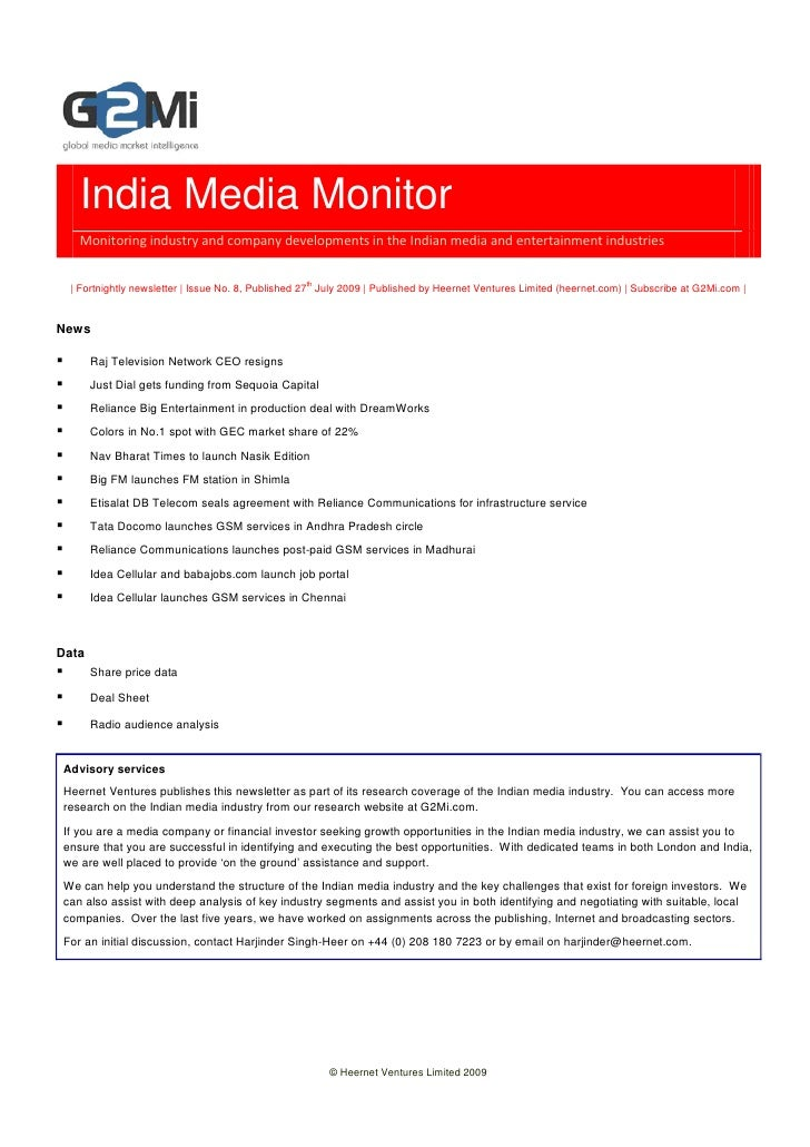 India Media Monitor    Monitoring industry and company developments in the Indian media and entertainment industries      ...