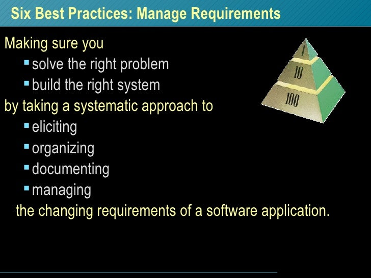 Six Best Practices: Manage Requirements <ul><li>Making sure you </li></ul><ul><ul><li>solve the right problem </li></ul></...