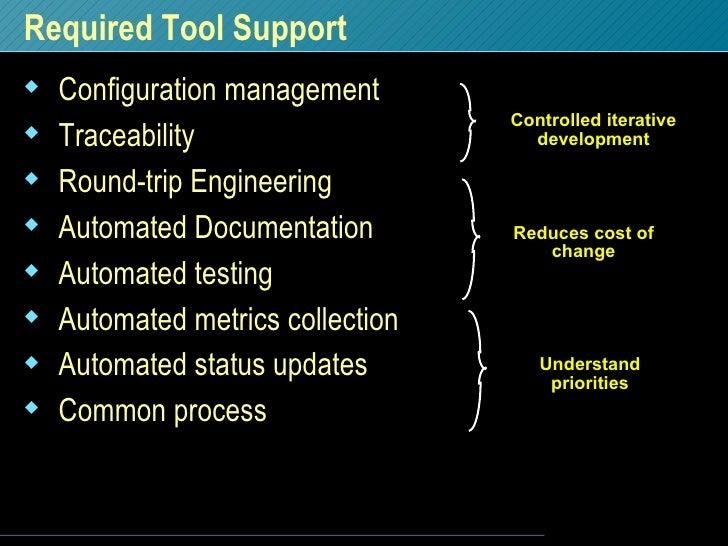 Required Tool Support  <ul><li>Configuration management </li></ul><ul><li>Traceability </li></ul><ul><li>Round-trip Engine...