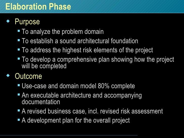 Elaboration Phase <ul><li>Purpose </li></ul><ul><ul><li>To analyze the problem domain </li></ul></ul><ul><ul><li>To establ...