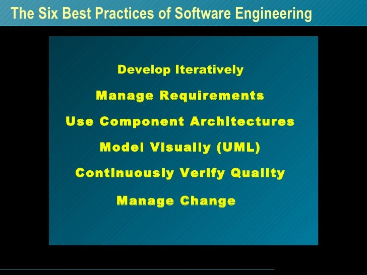 The Six Best Practices of Software Engineering Develop Iteratively Manage Requirements Use Component Architectures Model V...