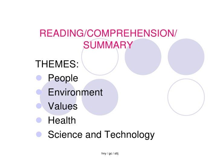 READING/COMPREHENSION/        SUMMARY THEMES:  People  Environment  Values  Health  Science and Technology           ...