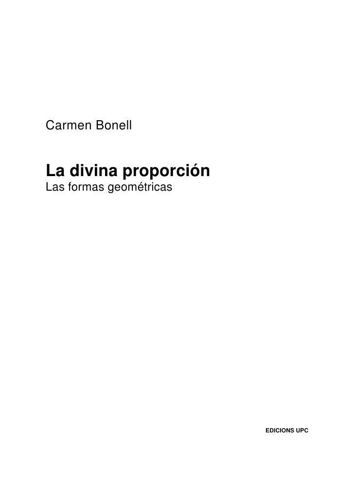 Carmen Bonell   La divina proporción Las formas geométricas                              EDICIONS UPC