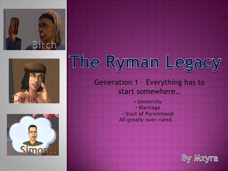 Birch<br />The Ryman Legacy<br />Generation 1 – Everything has to start somewhere…<br />Carla<br /><ul><li>University