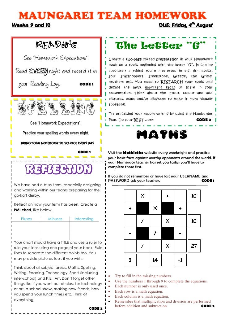 MAUNGAREI TEAM HOMEWORK Weeks 9 and 10                                                                     DUE: Friday, 4t...