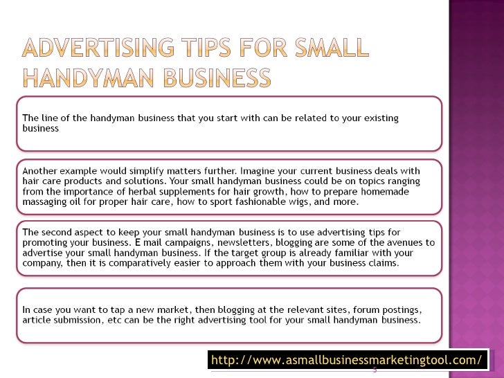 Advertising tips for handyman business